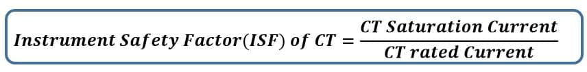 Instrument Safety Factor(ISF) of CT Formula