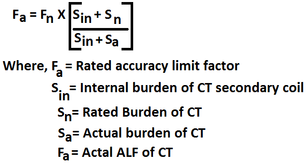 accuracy limit factor of current transformer formula