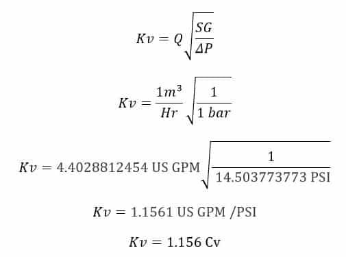mathematical expression for conversion from Kv to Cv